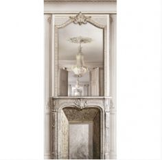 Trompe l'oeil fireplace with chandelier reflection