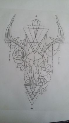 Tattoo deer skull antler roses chains