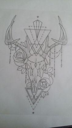 Tattoo deer skull antler roses chains
