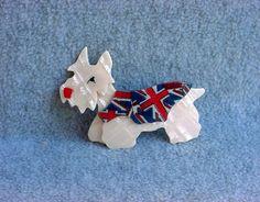 "Lea Stein Scottie Pin Kimdoo Dog Brooch Scottish Terrier 3"" Long Pearl French Designer Paris France Union Jack Sweater Vintage Celluloid"