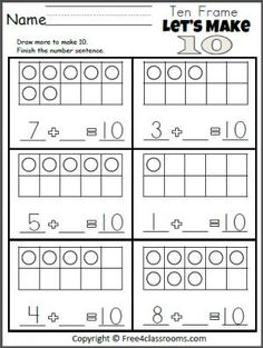 Amazing of FREE Worksheets for Kindergarten Free Kindergarten Math Addition Make 10 Worksheet Kindergarten Addition Worksheets, Free Math Worksheets, Kindergarten Math Activities, School Worksheets, Homeschool Math, Teaching Math, Math Games, 2nd Grade Math Worksheets, Teaching Geography