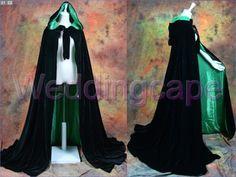 Black Velvet green satin Halloween Hooded Cloak Medieval Wedding Capes Christmas Unisex Costumes S-6XL $49 ...