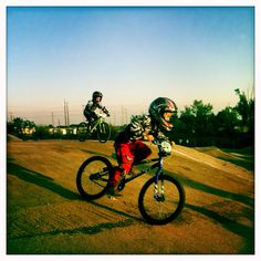 An afternoon at the BMX track; kid is killing it.
