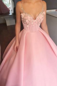 chic v-neck pink fashion gowns, elegant beaded prom party dresses, pink ball gowns, Quinceanera dresses