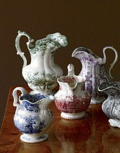Love these! Nice collection for kitchen shelves! Truly torn between white ironstone and these colorful beauties.