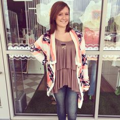 NEW ARRIVALS- the Aztec cardigan goes great with the new brown layered top! Also great for a back to school outfit!!!