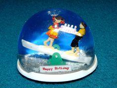 "Vintage! HAPPY BIRTHDAY souvenir SNOW GLOBE ""See Saw Cake"" @ HONG KONG #28"