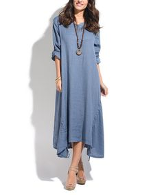 34b6251735 Another great find on #zulily! Blue Linen Sidetail Dress & Statement  Necklace #