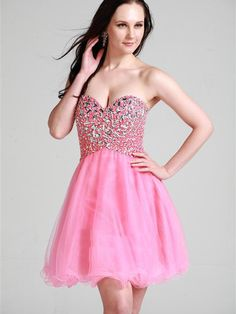 Charming Sweet-heart Mini-length Party Dress with Rhinestones