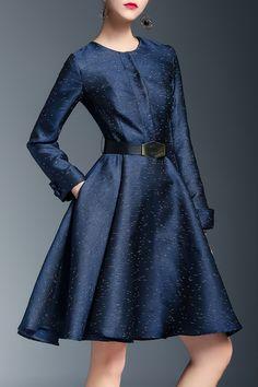 A Line Long Sleeve Knee Length Dress