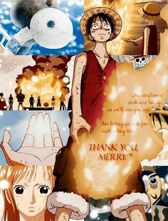 The seafloor's dark and lonely, as we'll see you off, for letting us ride for such a long time...thank you Merry, sad, text, quote, Luffy, Usopp, Nami, Going Merry, Sanji, Zoro, Franky, Chopper, Robin, crying; One Piece