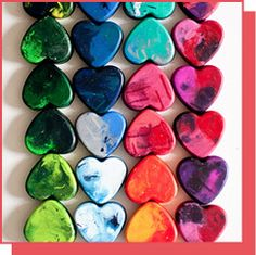 Make heart shaped crayons! Great #DIY project for kids around #Valentines Day. Bake in oven at 350 in heart-shaped muffin tin.