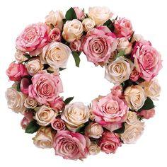 Rose and Beige Cream Faux Silk Flower Wreath - Shabby Flowers, Faux Flowers, Silk Flowers, Shabby Chic Wreath, Shabby Chic Crafts, Silk Flower Arrangements, Flower Centerpieces, Silk Flower Wreaths, Floral Wreaths