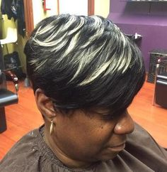 short layered black pixie with blonde feathers