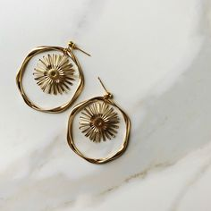 Golden Cosmos Earrings – The Faint of Heart Jewelry