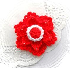 Crochet  flower applique ornament brooch  http://www.etsy.com/shop/CraftsbySigita?ref=si_shop