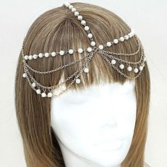 Pearl Bead Gold Arabian Head Chain Headpiece Body Jewelry Wedding Headdress #Unbranded #ForeheadJewelry