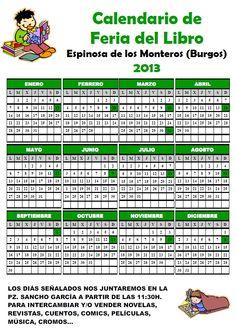 Feria del Libro en Espinosa de los Monteros. Calendario. 2º Domingo del mes 11:30h en la Plaza Sancho Garcia. Espinosa de los Monteros