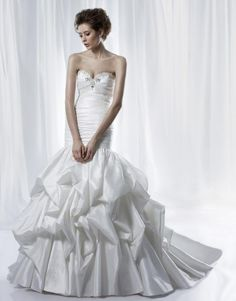Brightly High Neckline Wedding Gown with Beadings Bodice A-line Chapel Train