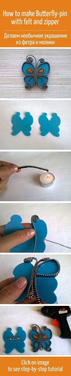 How to make Butterfly-pin with felt and zipper / Делаем необычное украшение из фетра и молнии