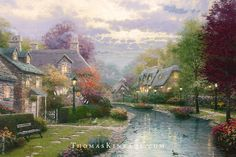 "Thomas Kinkade loved painting a small English town called Bourton-on-the-Water. It was the subject of his ""Lamplight Lane Collection""."