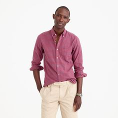 Crew for the Slim oxford shirt in red plaid for Men. Find the best selection of Men Shirts & Tops available in-stores and online. Plaid Shirt Outfits, Casual Outfits, Men Casual, Normal Guys, Mens Suits, J Crew, Handsome, Man Shop, Red Plaid