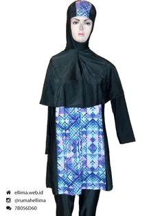 Kode: BRMD201543, Harga: IDR 295.000. Baju renang muslimah dewasa dengan desain longgar berwarna dasar hitam kombinasi motif abstrak. Model baju dan celana renang terusan, dilengkapi jilbab panjang menutupi dada dan topi. Elegan dan syar'i. Resleting diletakkan di depan baju untuk memudahkan pemakaian.