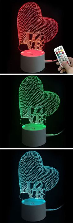 I love you heart pattern LED night light – Colors changing automatic – Perfect decoration creating romantic surrounding – Creative gift for valentine's day – Dress Archive Creative Gifts, Cool Gifts, Diy Christmas Gifts, Valentine Gifts, Lampe 3d, Dont Break My Heart, Led Night Light, Night Lights, Heart Patterns