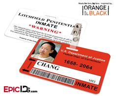 Orange is the New Black Inspired Inmate ID Card - Chang, Mei