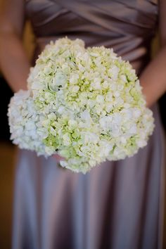 Hydrangea posy with green accents Bridesmaids