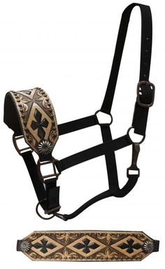 """Showman ® FULL SIZE Leather bronc halter with cross design. This halter features a straight 3"""" leather nose band accented with black crosses and diamond pattern design accented with copper. 2 ply webb"""