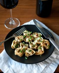 Tortellini with Garlic Sage Butter Sauce | Leaves of fresh sage sautéed in golden-brown butter form a classic Italian pasta sauce. Our version uses ground sage, and so you can make it any time of the year.