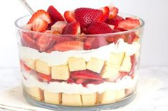 Easy recipe for a Layered Strawberry Trifle- an impressive and pretty dessert for spring or summer. Use any type of berry.