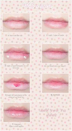 Petit Poppy: Tutorial ~ Ulzzang lips  @Li Yao cute simple sweet lip makeup idea <3