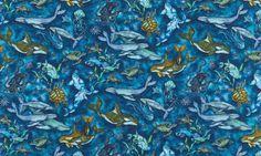 Robert Kaufman Wilderness Expressions Ocean Life Allover by Karla Morreira AQM-15951-59