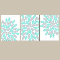 Gray Aqua Wall Art CANVAS or Prints Bedroom Pictures by TRMdesign