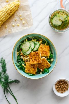 Chili Roasted Corn w/ Spelt Berries + Seared Tofu + Quick Pickles + Arugula // by Faring Well #vegan #recipes