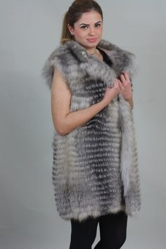 BRAND NEW AND BEAUTIFUL Luxury gift/ Silver fox with white Fox Fur Vest/Wedding,or anniversary present.MADE FOR WOMEN AND MADE FROM Feathered SKINS, THE