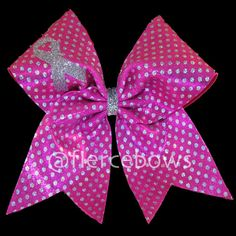 Breast Cancer Awareness Cheer Bow by MyFierceBows on Etsy, $10.00