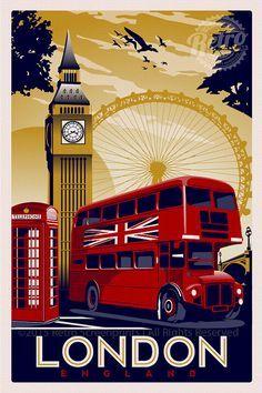 This is original artwork london england vintage retro travel screen print poster ** Art Deco Posters, Vintage Travel Posters, Screen Print Poster, Poster Prints, London England, Pub Vintage, Vintage London, Poster City, Pokemon Eevee
