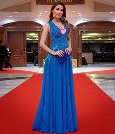 Cyrine Abdel nour in light blue dress 👗