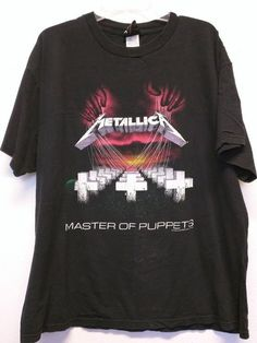 02718179bc7 Metallica t-shirt Master of Puppets Vintage Headbanger Ride the Lightning  original band shirt metal rock roll XL black