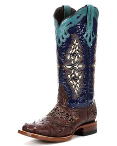 "Ladies' Lucchese Horseman Saddle Vamp with ""Sweetwater"" Stitch Design.This women's Lucchese cowgirl boot features a brown full quill ostrich leather foot accented by bright blue inlays at saddle vamp under a bright blue embroidered 13"" calf skin leather shaft. Gorgeous turquoise leather overlay at collar and pull straps. Leather lining. Double stitched welt. Updated with square toe profile. Imported. </span>  <!--EndFragment-->"