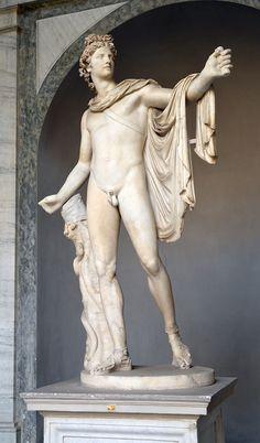 """""""Apollon du Belvédère"""" - Copie romaine d'après un original du sculpteur Léocharès datant du IVe siècle avant notre ère - Musée Pio-Clementino."""