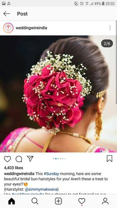 South Indian Wedding Hairstyles, Bridal Hairstyle Indian Wedding, Bridal Hair Buns, Bridal Hairdo, Bridal Hair Flowers, Wedding Hairstyles For Long Hair, Bun Hairstyles, Hairdos, Updos