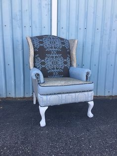 Wingback Accent Arm Chair Vintage Upcycled by BlueChairUpholstery