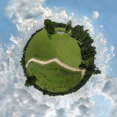 Artist Nikki Smith captured the beauty of rural Bryan/College Station, Texas in this unique wee planet photograph based upon a 360 degree panorama taken by the artist in 2007. You can see more of her wee planet creations and purchase fine art prints on her website, http://booksmithstudio.com
