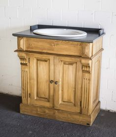 Waschtischunterschrank holz antik  Doppelwaschtisch mit Unterschrank, Vintage Look, romantischer ...
