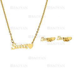"""juego de collar y aretes de """"Sweat"""" de dorado en acero-SSNEG813314"""