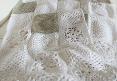 All white granny square blanket .. need to learn how to make this